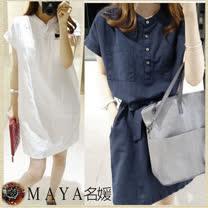 【Maya 名媛】(M~XL) 夏季簡約優質素雅半飛袖開扣款連衣裙/長版上衣-白/藍