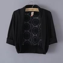 【韓系女衫】韓系蕾絲無扣時尚短款小披肩外套 (共二色)