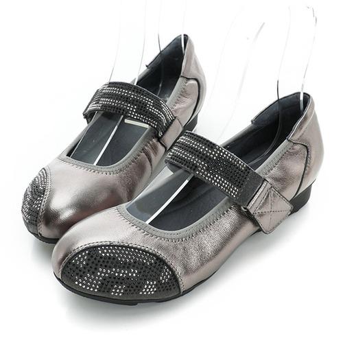 Kadia.羊皮亮面貼鑽娃娃鞋-銀灰