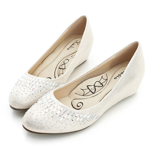 kadia.特殊pu閃布貼鑽娃娃鞋-銀白