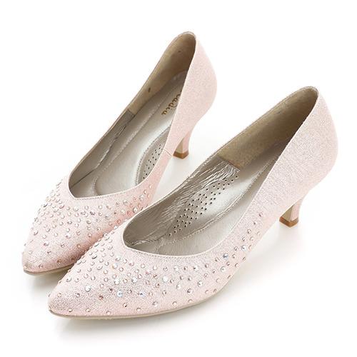 kadia.布面貼鑽跟鞋-銀粉