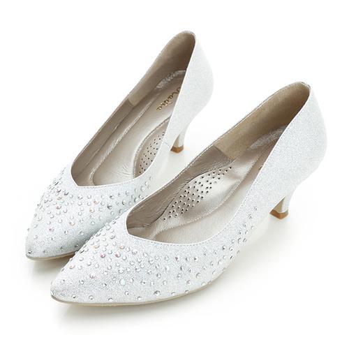 kadia.布面貼鑽跟鞋-銀