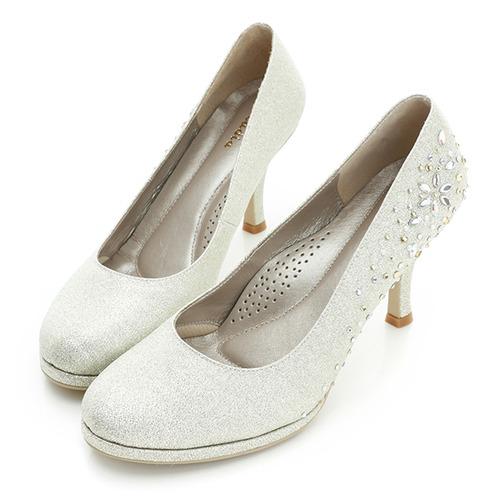 kadia.布面貼鑽跟鞋-銀白
