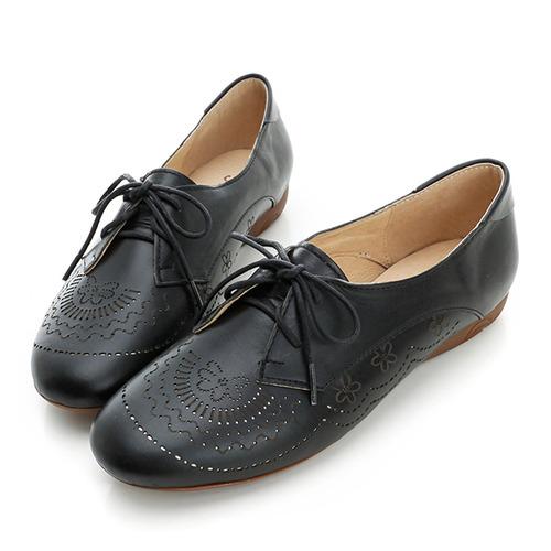 kadia.激光雕花包鞋-黑
