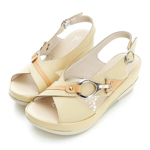 kadia.牛皮契行涼鞋-淺黃