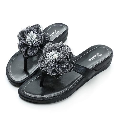 kadia.貼花拖鞋-黑