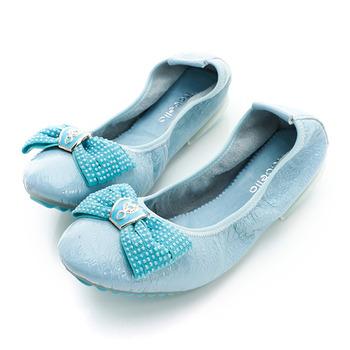 itabella.牛皮壓紋貼蝴蝶結包鞋-淺藍