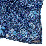 YSL 新款彩繪玻璃圖紋玫瑰花邊飾純棉帕巾-藍色