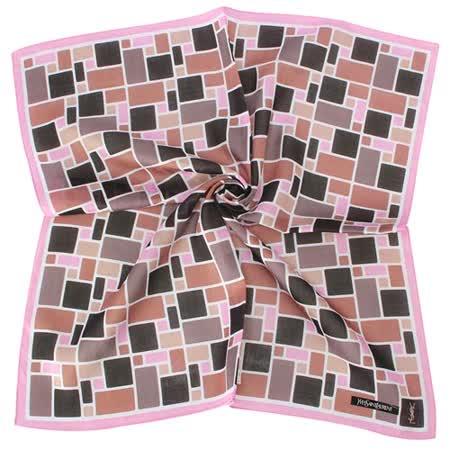 【部落客推薦】gohappy快樂購物網YSL 新款幾何方格圖紋純棉帕領巾-粉色價錢巨 城 大 遠 百