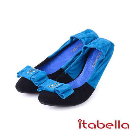itabella.撞色羊麂皮尖頭平底鞋-黑×藍