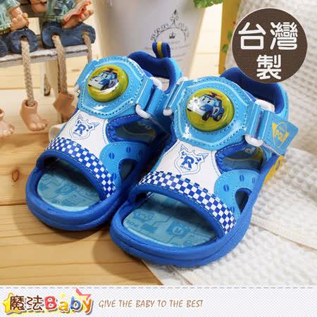 魔法Baby~台灣製POLI動畫兒童閃燈涼鞋 sa51206