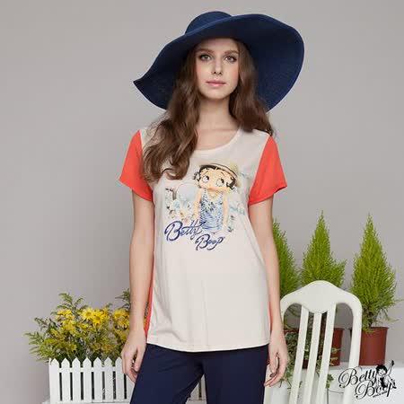 【Betty Boop貝蒂】拚色透氣洞洞網袖圓領T恤(共二色)