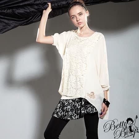 【Betty Boop貝蒂】兩件式蕾絲緹花雪紡透膚上衣(共二色)