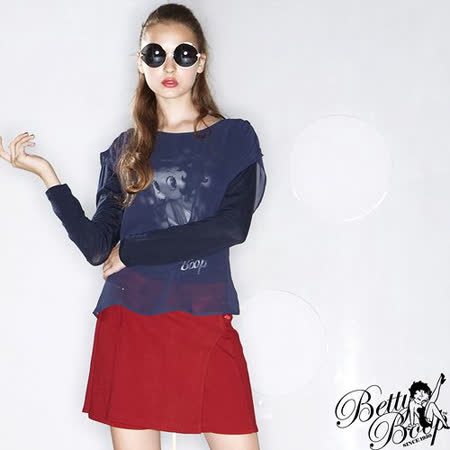 【Betty Boop貝蒂】假兩件雪紡棉質圓領T恤(共二色)