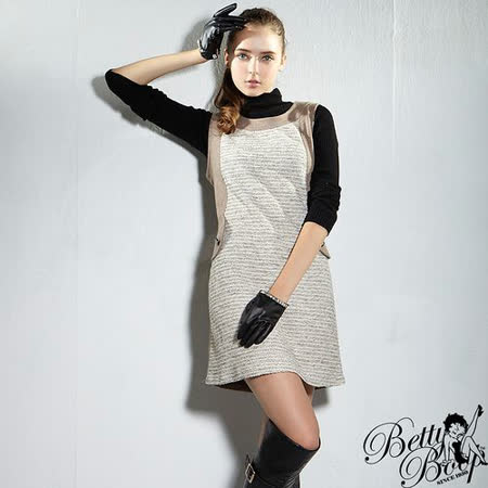 【Betty Boop貝蒂】銀蔥毛呢顯瘦背心洋裝(共二色)