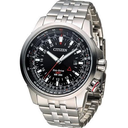星辰 CITIZEN PROMASTER 光動能領航雙時區時尚腕錶 BJ7071-54E 黑