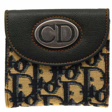 【好物推薦】gohappy快樂購Christian Dior 經典復古鐵牌帆布實用中夾_深藍色價錢板橋 遠 百 餐廳