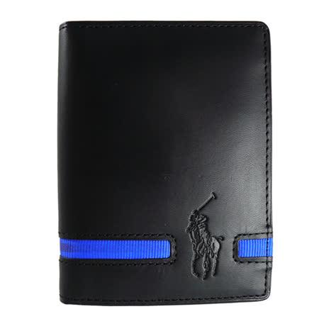 【私心大推】gohappy快樂購物網POLO Ralph Lauren 藍色織帶6卡式短夾(黑)評價如何遠東 happy go