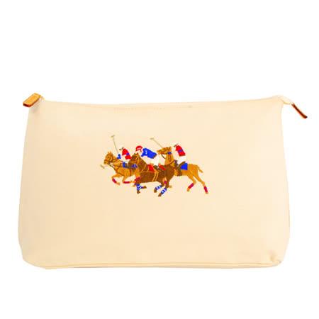 POLO Ralph Lauren 經典騎馬槌球黃色萬用包(大.米)