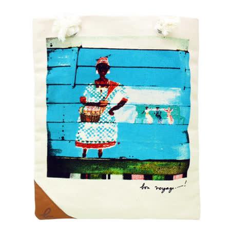Agnes b. 經典彩繪塗鴉款麻繩購物肩背包(米白)