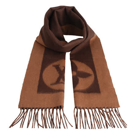 LV【M72204】經典Cardiff系列LOGO造型雙色設計羊毛流蘇圍巾(咖啡)
