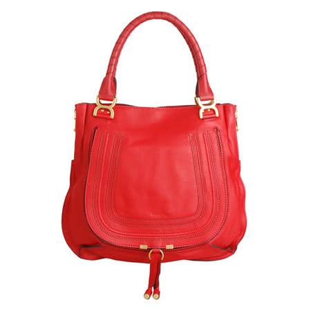 CHLOÉ 經典Marcie Bag系列雙提把吸扣手提包(紅)