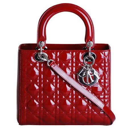 DIOR Lady dior復古漆皮方型兩用黛妃包(紅)