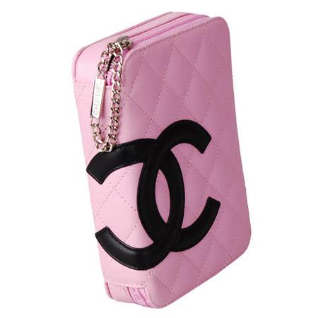 【展示品】CHANEL 經典康朋系列造型拉鍊化妝包-粉紅