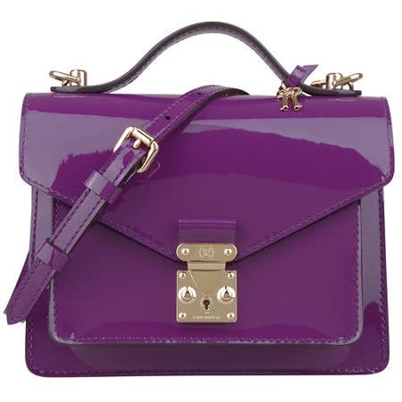 LV M90112 經典漆皮扣式手提/斜背小方包(紫)