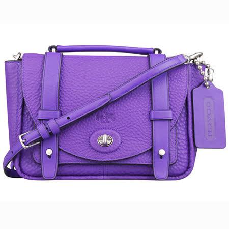 COACH BLEECKER全皮革荔枝皮紋MINI斜背包(紫)