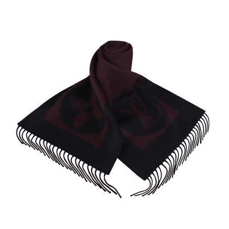 LV M75338 Cardiff 經典LOGO造型雙色羊毛流蘇圍巾(酒紅)