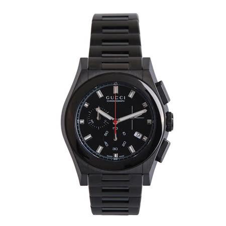 GUCCI 頂尖時尚三眼計時腕錶(黑)