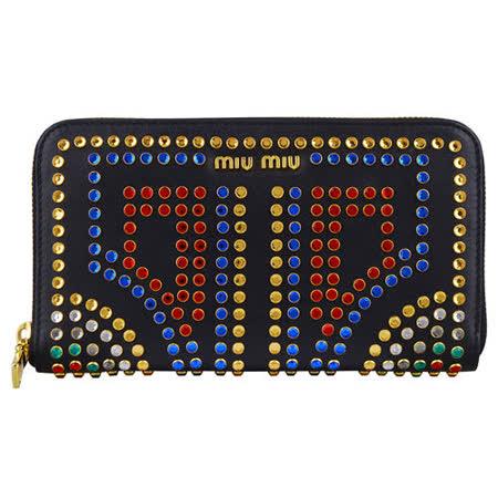 【網購】gohappy快樂購物網MIU MIU 牛皮水晶鉚釘設計拉鍊長夾(黑)評價好嗎板橋 大 遠 百 店
