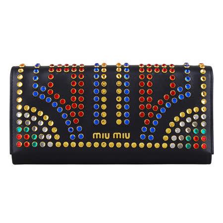 【網購】gohappy 線上快樂購MIU MIU 牛皮水晶鉚釘設計釦式長夾(黑)好用嗎大 遠 百 威 秀 影 城