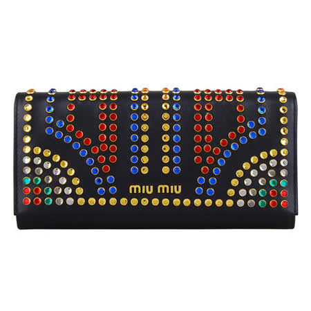 MIU MIU 牛皮水晶鉚釘設計釦式長夾(黑)