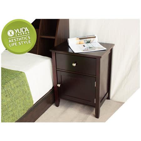 【YUDA】沃爾 實木烤漆 一抽一開門(側開門)床頭櫃 (床邊櫃/床頭箱)DIY簡易組裝