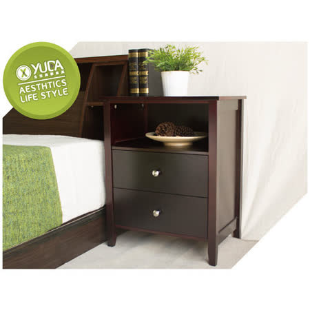 【YUDA】沃爾 實木烤漆 二抽 床頭櫃 (床邊櫃/床頭箱)DIY 簡易組裝