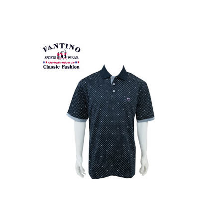 【FANTINO】男款 品牌圓點造型80支絲光棉polo衫(白) 431342