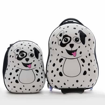 【英國cuties and pals】16吋蛋型輕硬殼兒童專屬旅行箱+13吋背包組(大麥町)
