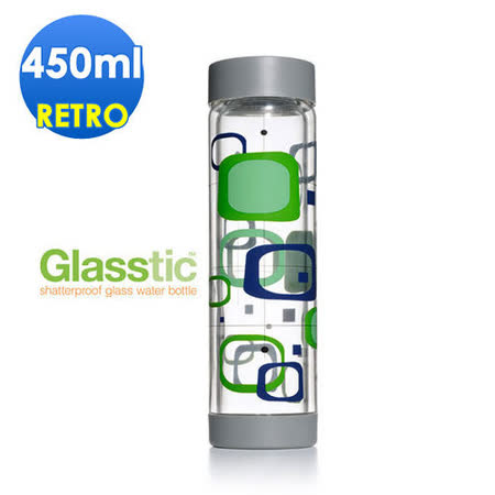 美國Glasstic安全防護玻璃運動水瓶450ml-平蓋式-RETRO