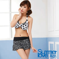 【SUMMERLOVE 夏之戀】時尚黑白款比基尼三件式E14716