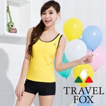 【TRAVELFOX 旅狐】亮黃簡約風二件式泳衣C15708