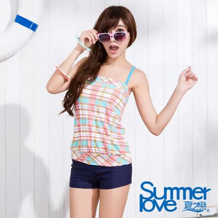 【SUMMERLOVE 夏之戀】俏麗格長版褲型二件式泳衣S15704