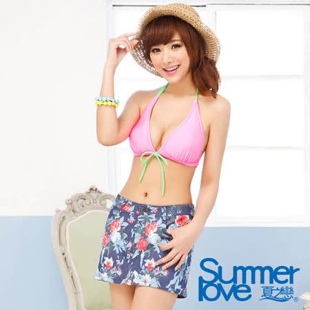 【SUMMERLOVE 夏之戀】典雅花卉圖案彈性外搭褲裙S14713