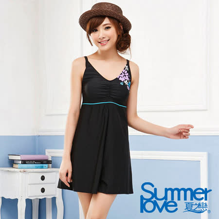【SUMMERLOVE 夏之戀】顯瘦款連身褲裙二件式泳衣E14712