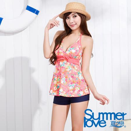 【SUMMERLOVE 夏之戀】甜美小碎花長版二件式泳衣S15719