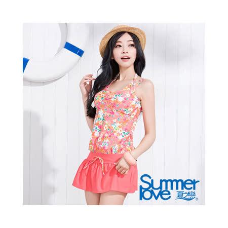 【SUMMERLOVE 夏之戀】甜美碎花連身裙三件式泳衣S15718