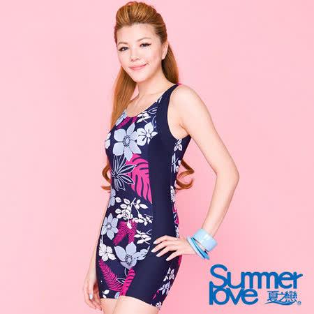 【SUMMERLOVE 夏之戀】熟女風多彩連身四角泳衣E12715