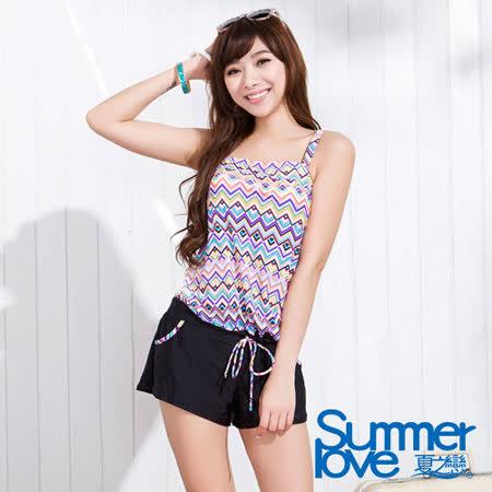 【SUMMERLOVE 夏之戀】幾何風連身褲二件式泳衣S15725