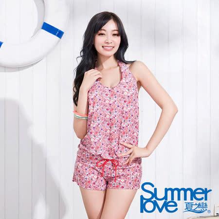 【SUMMERLOVE 夏之戀】繽紛碎花連身褲三件式泳衣S15730